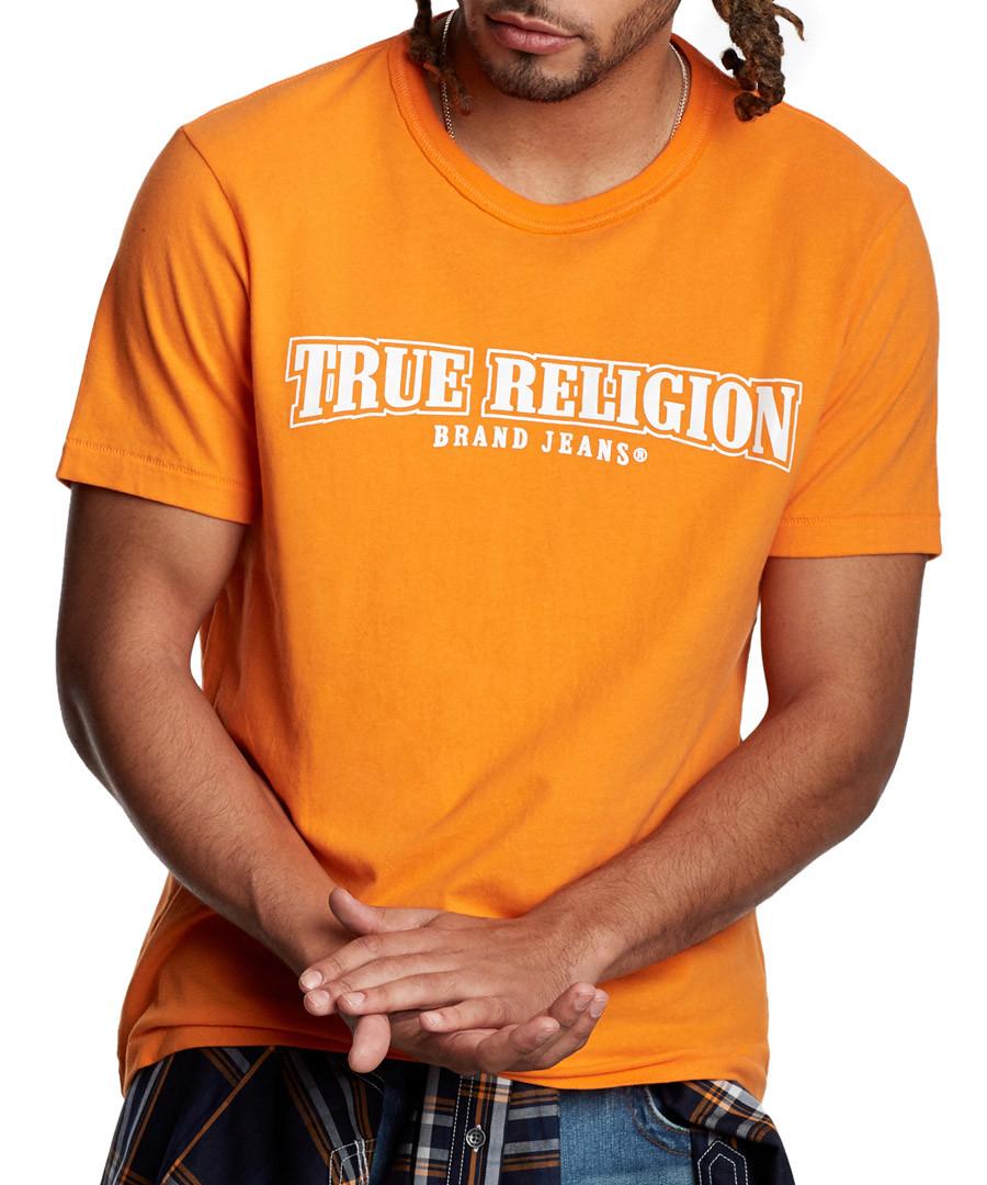 orange pure cotton logo T-shirt Sale - true religion