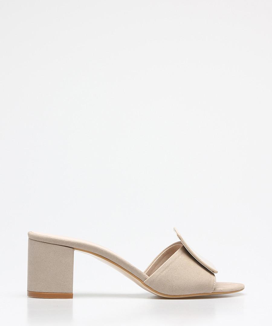 Beige suede square button sandals Sale - rovigo