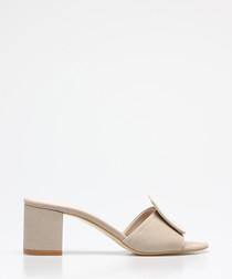 Beige suede square button sandals
