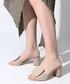 Beige suede square button sandals Sale - rovigo Sale