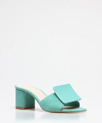 Mint suede square button sandals
