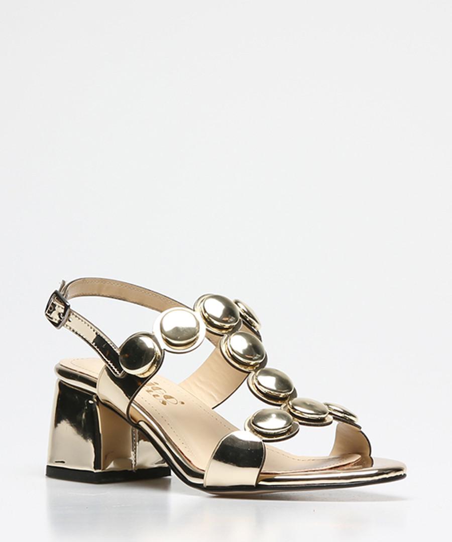 Gold patent button heeled sandals Sale - rovigo