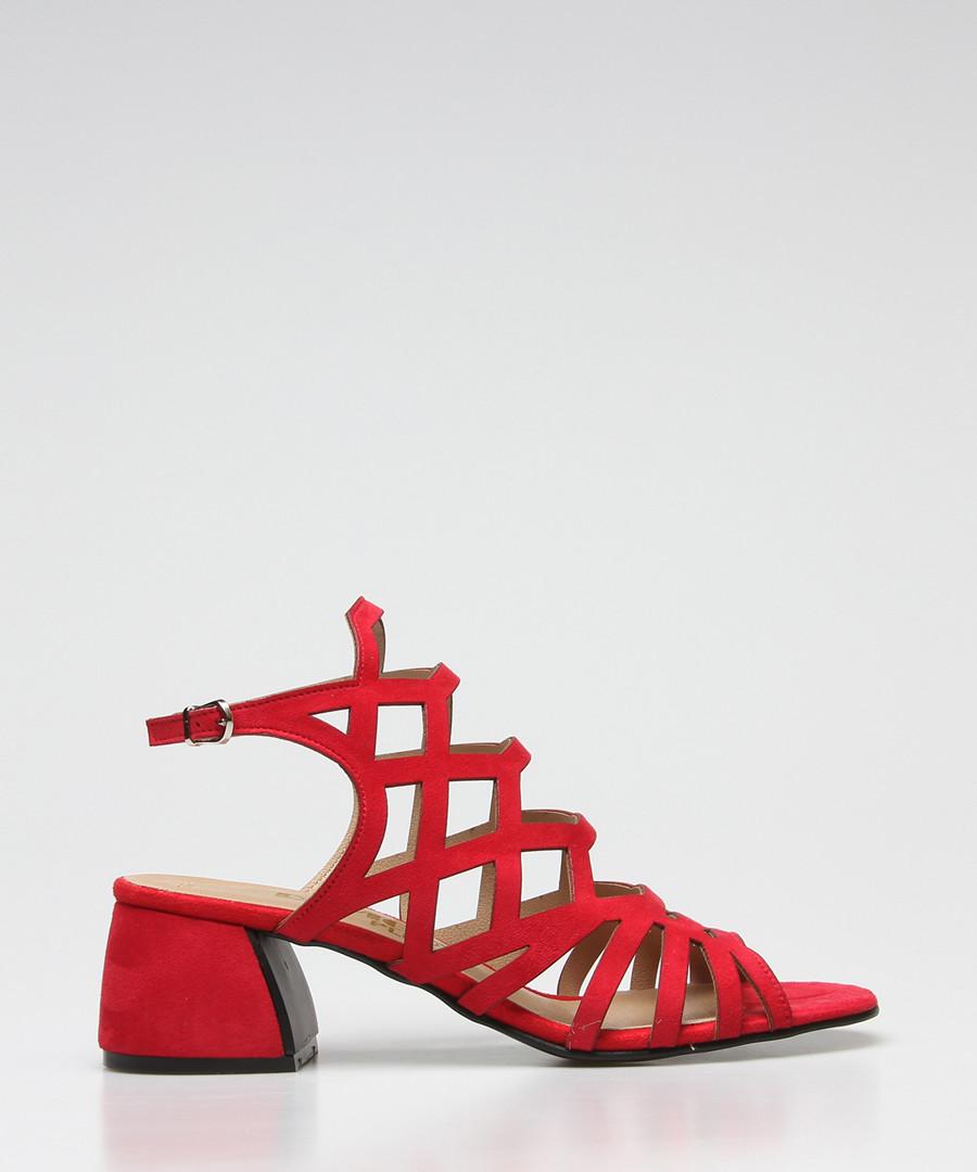 Red suede strappy heeled sandals Sale - rovigo