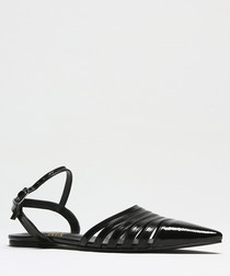 Black patent leather pointed sandals