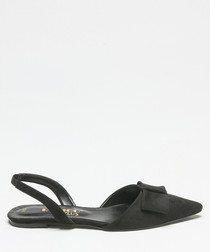 Black suede bow slingback sandals
