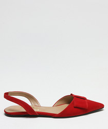 Red suede bow slingback sandals