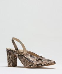 Snake-effect pointed slingback heels
