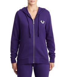 Purple cotton blend zip-up hoodie