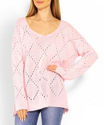 Pale pink light fretwork jumper