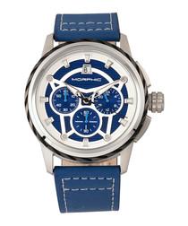 M61 Series steel & blue leather watch