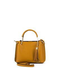 tan leather tassel grab bag
