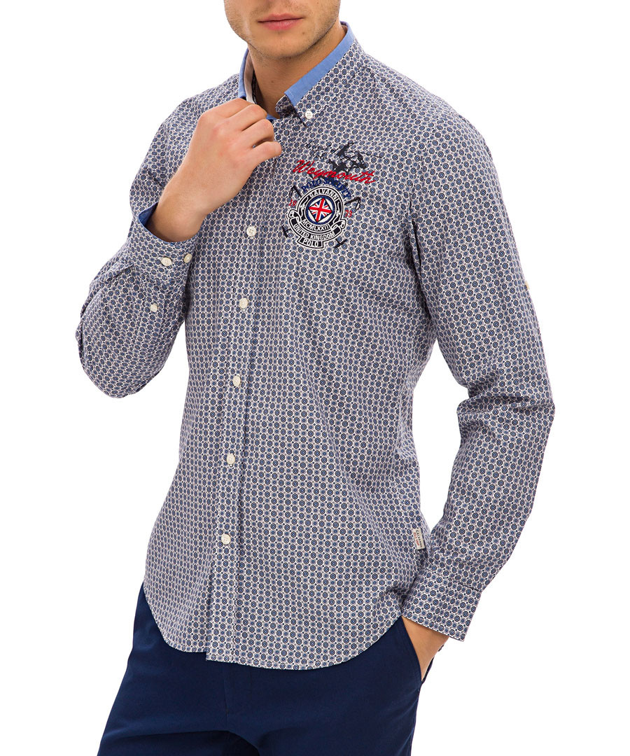 Blue check pure cotton shirt Sale - galvanni