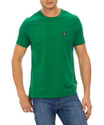 green pure cotton crest T-shirt