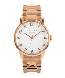 Rose gold-tone charm link watch