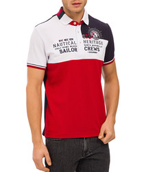 Red & white pure cotton panel polo