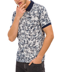navy pure cotton floral polo