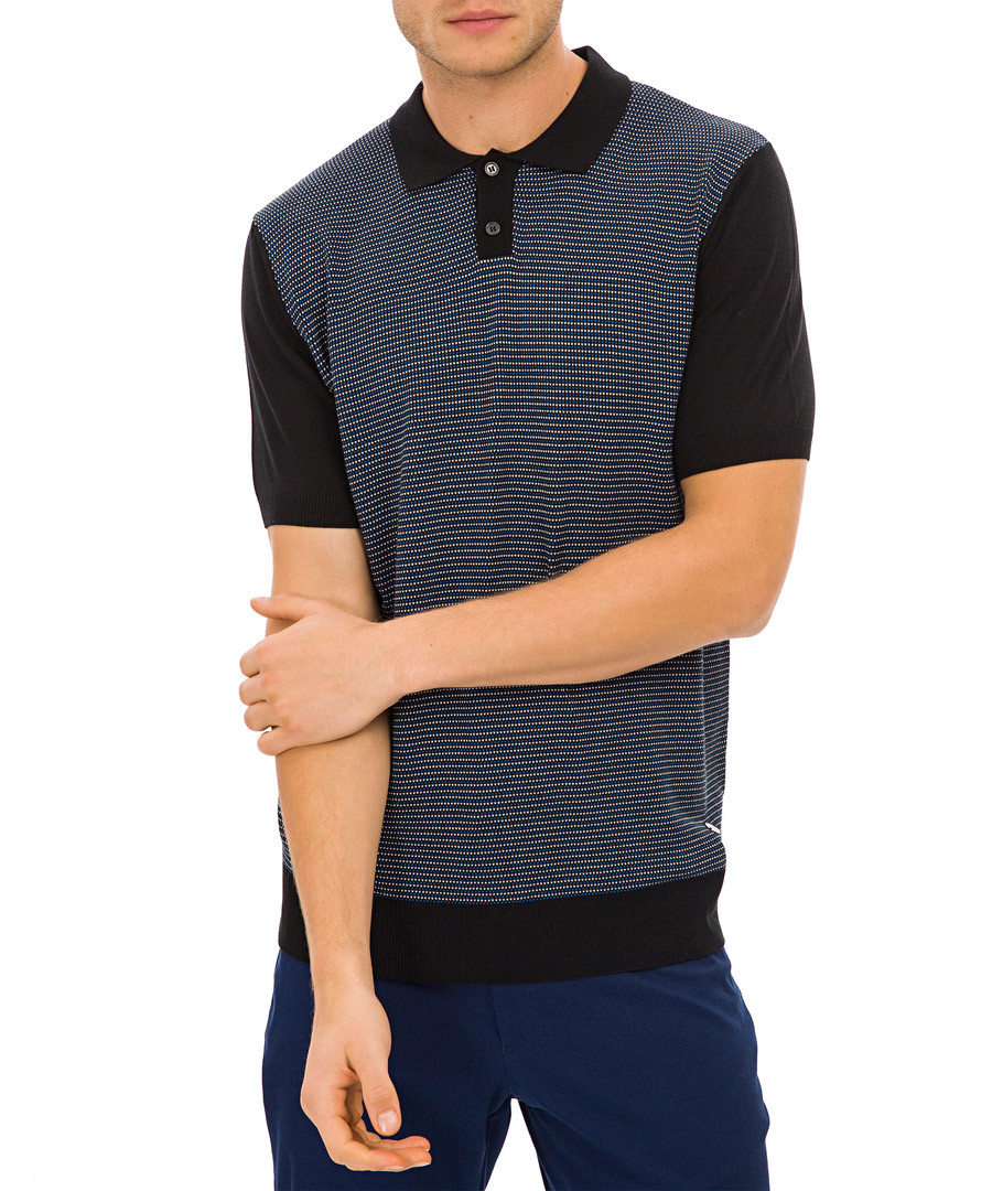 Black panel polo shirt Sale - galvanni