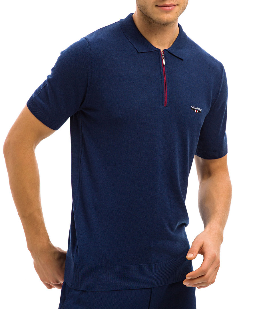 navy zip polo shirt Sale - galvanni