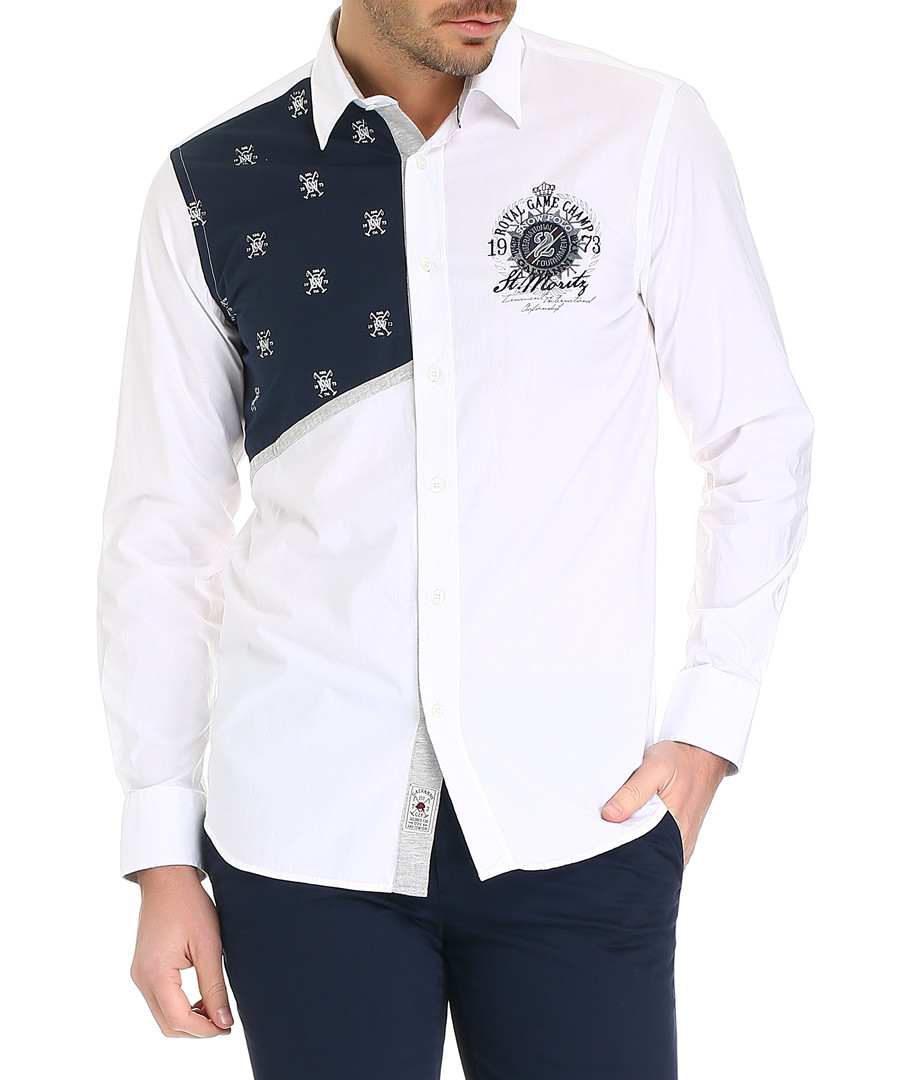 white pure cotton panel shirt Sale - galvanni