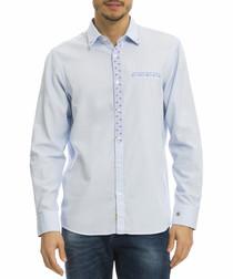 pale blue pure cotton detail shirt