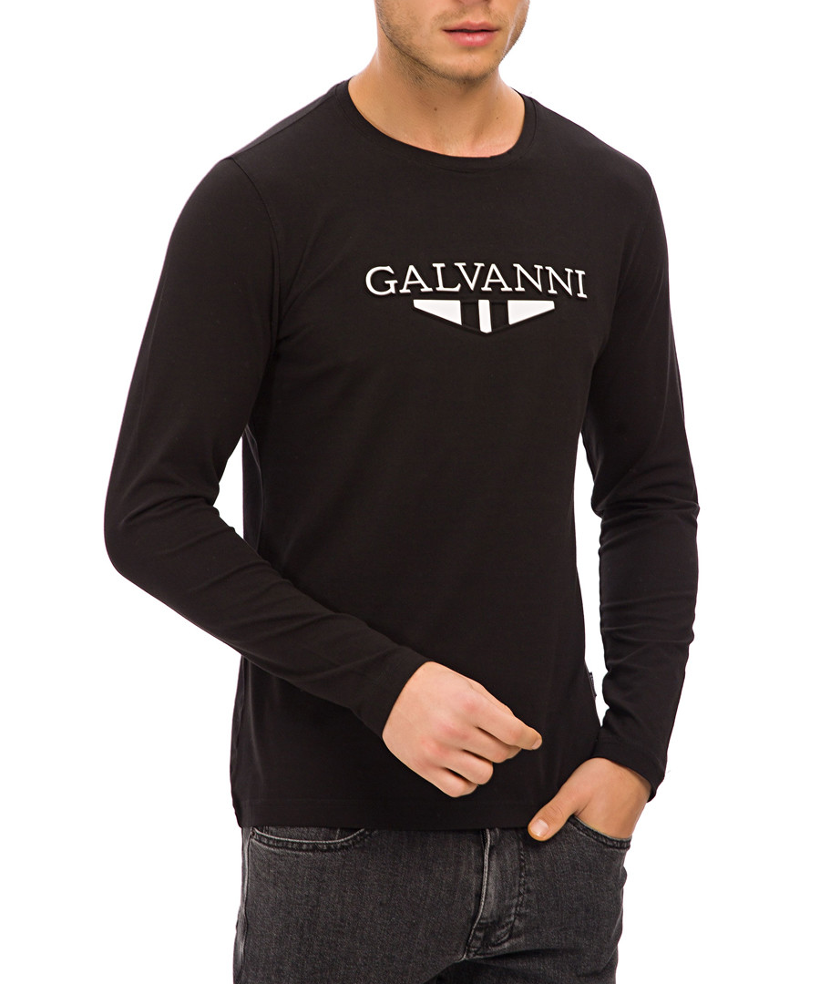 black cotton blend logo jumper Sale - galvanni