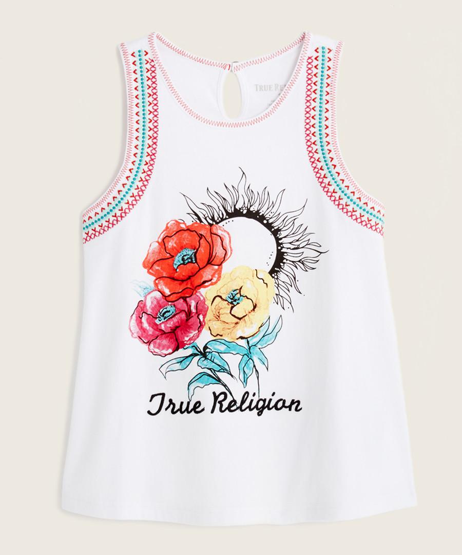 Girls' white floral pure cotton vest Sale - True Religion