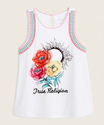Girls' white floral pure cotton vest