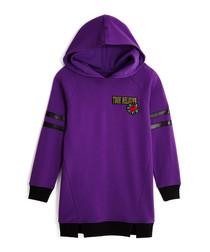 Girls' purple pure cotton hoodie dress