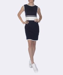 navy pure cotton knit dress