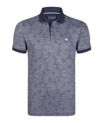 navy pure cotton strike tile polo shirt