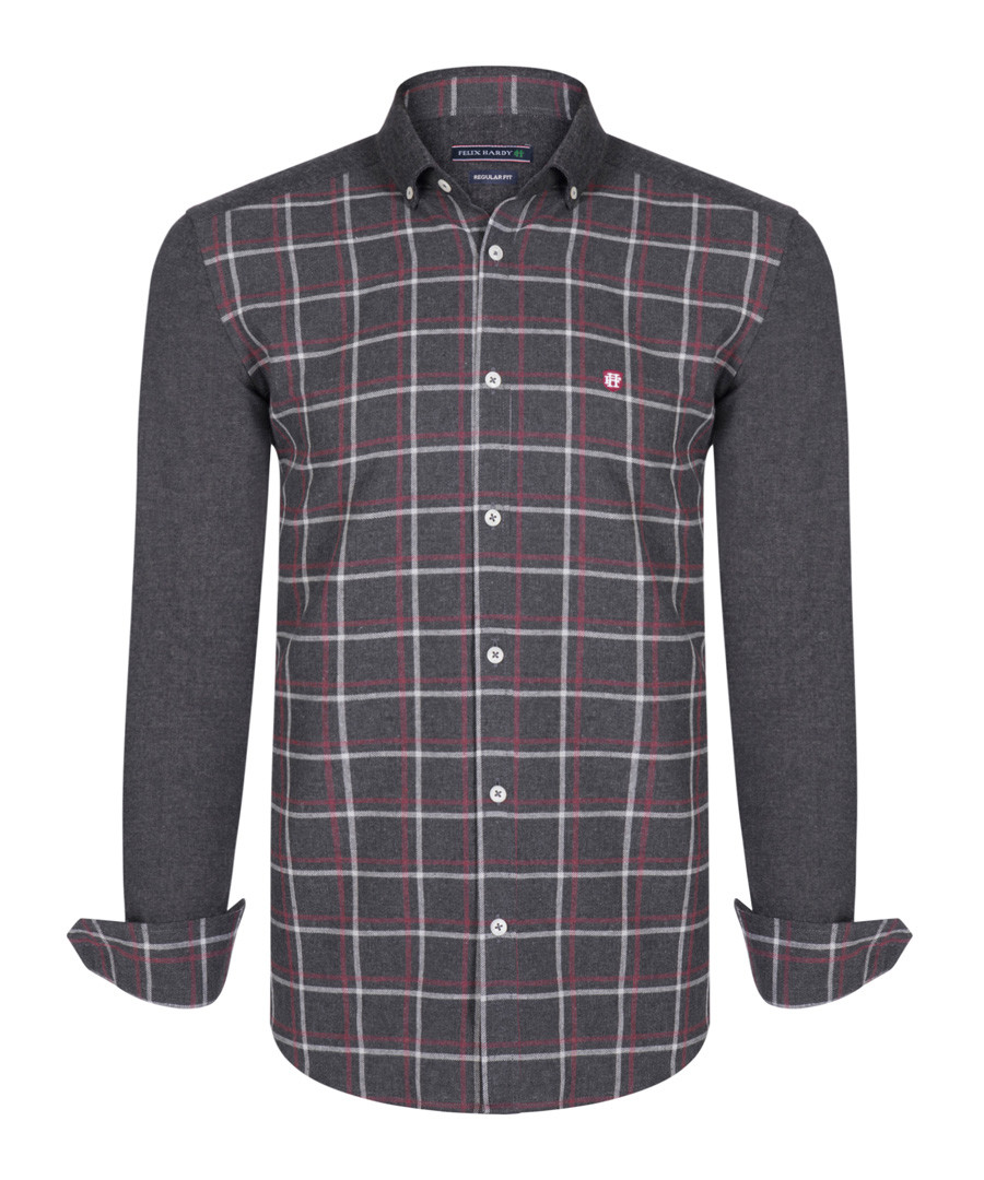 grey & red check pure cotton shirt Sale - felix hardy