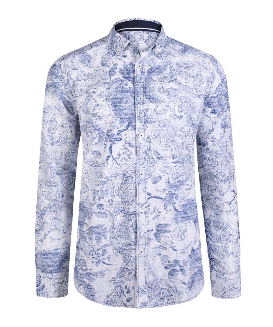 blue & white floral pure cotton shirt Sale - felix hardy