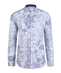 blue & white floral pure cotton shirt