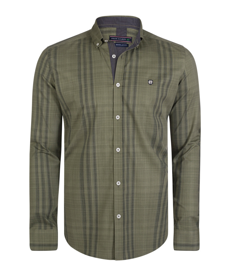 Olive green check pure cotton shirt Sale - felix hardy