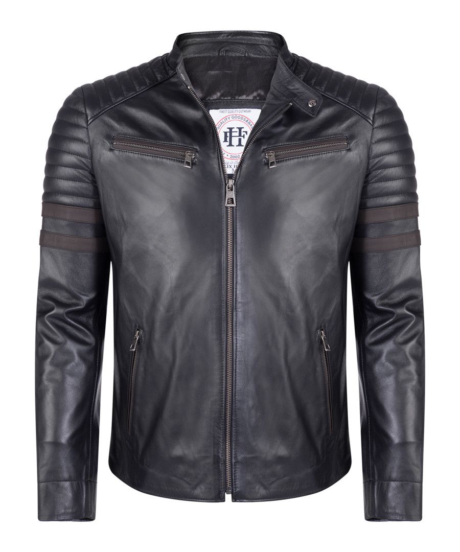black leather padded jacket Sale - felix hardy