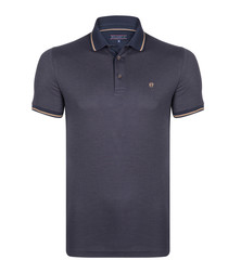 pewter pure cotton polo shirt
