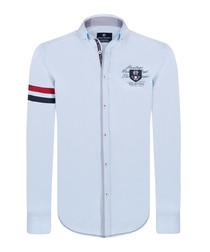 pale blue pure cotton crest shirt