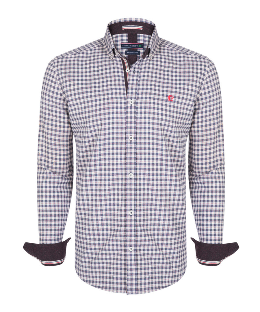 pewter gingham pure cotton shirt Sale - felix hardy