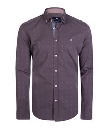 burgundy & grey stripe pure cotton shirt