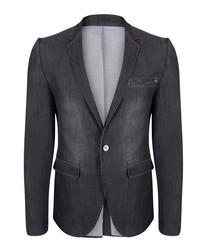graphite wool blend one-button blazer