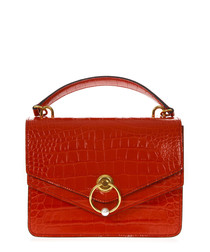 Harlow red moc-croc leather shoulder bag