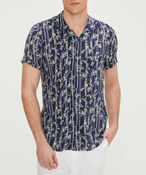 navy leaf stripe short sleeve shirt