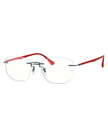 titanium & red frameless bridge glasses