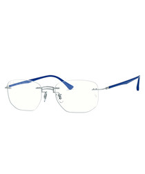 titanium & blue frameless bridge glasses