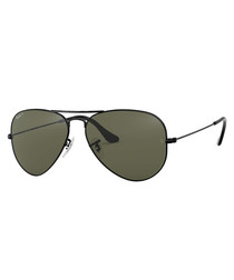 aviator black & green sunglasses