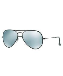 aviator black & light green sunglasses