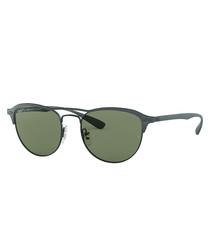 Black & green double bridge sunglasses