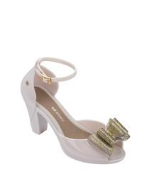 Diva gold-tone & ash rubber mid heels