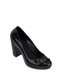 Fever black rubber mid heels