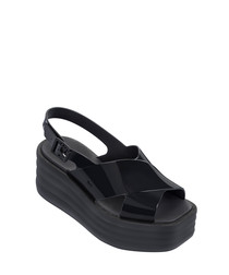 Hi-Lo black rubber platform sandals